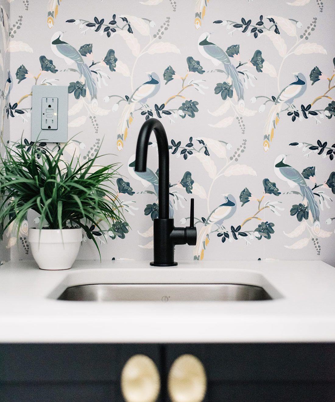Birds Of Paradise • Grey Wallpaper • Laundry Room Wallpaper • Wallpaper over the sink