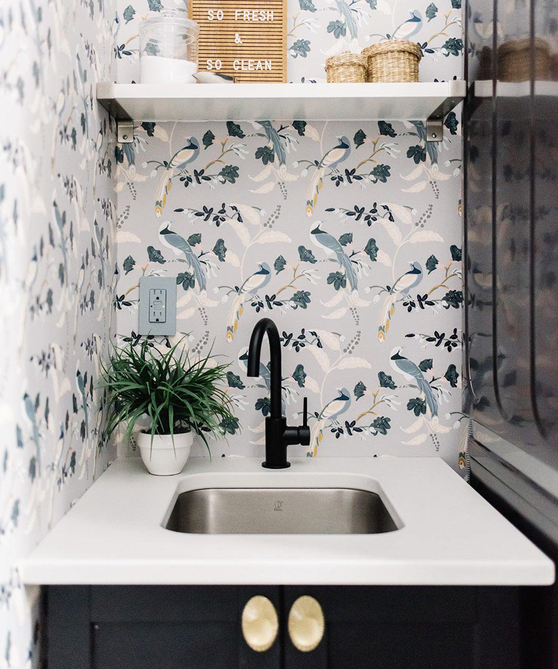 Birds Of Paradise • Grey Wallpaper • Laundry Room Wallpaper • Bird Wallpaper Behind The Sink