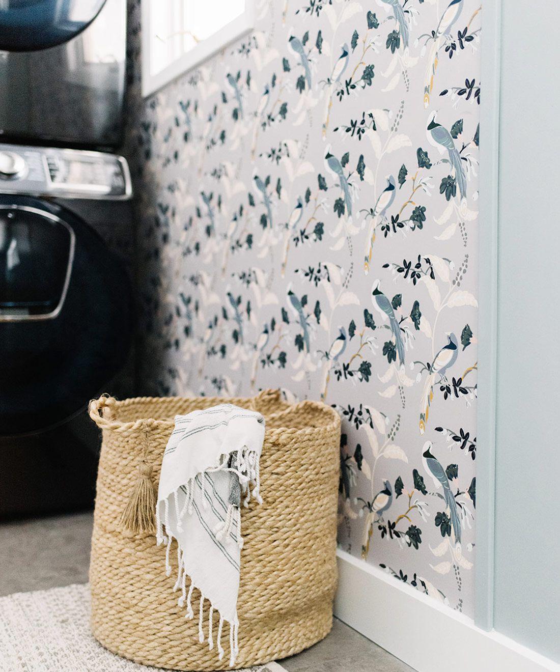 Birds Of Paradise • Grey Wallpaper • Laundry Room Wallpaper