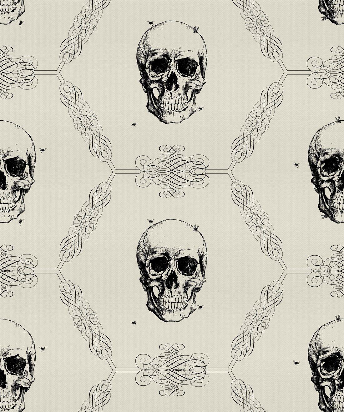 Skull and Bee Wallpaper