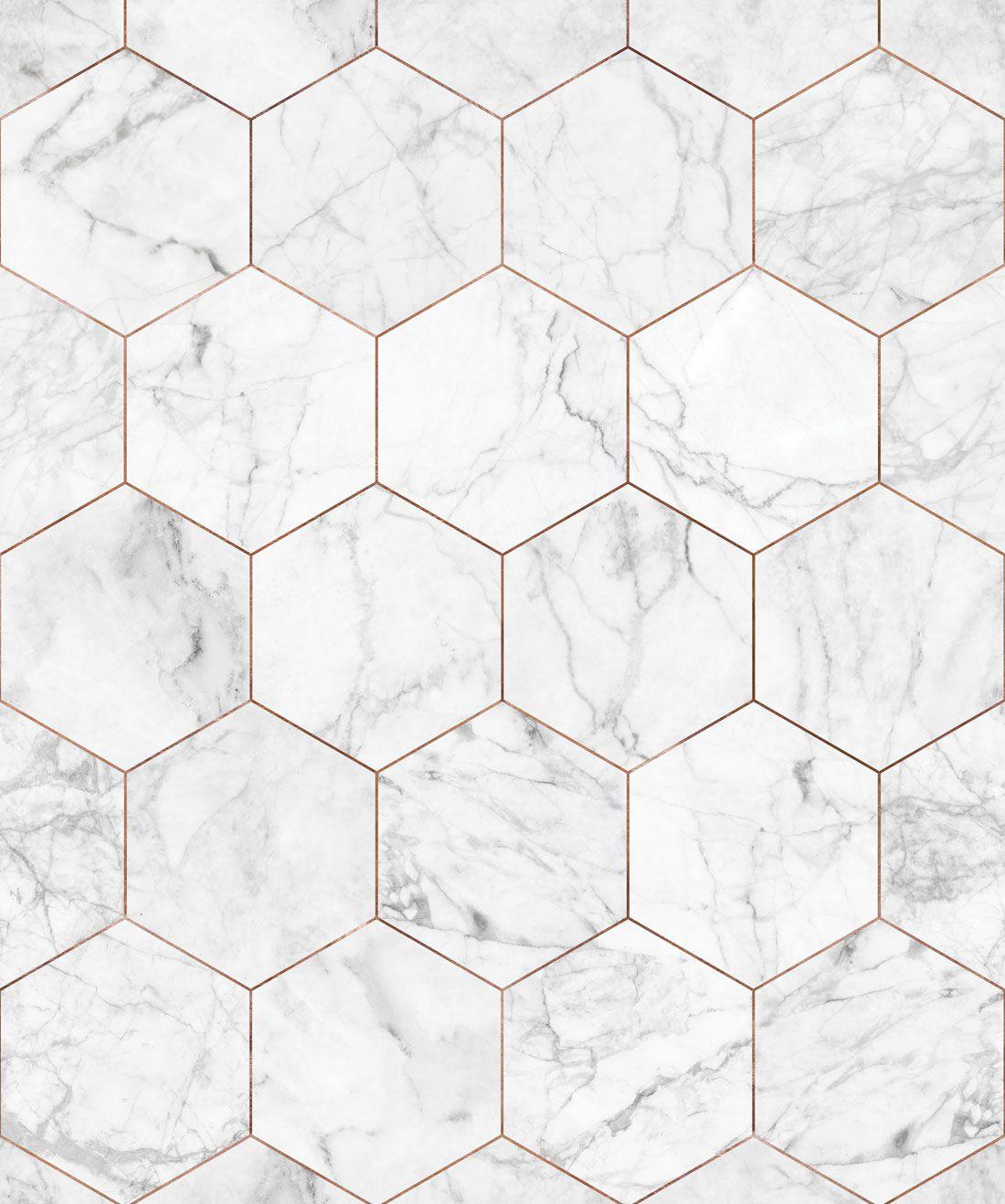 Marble & Copper Tiles Wallpaper