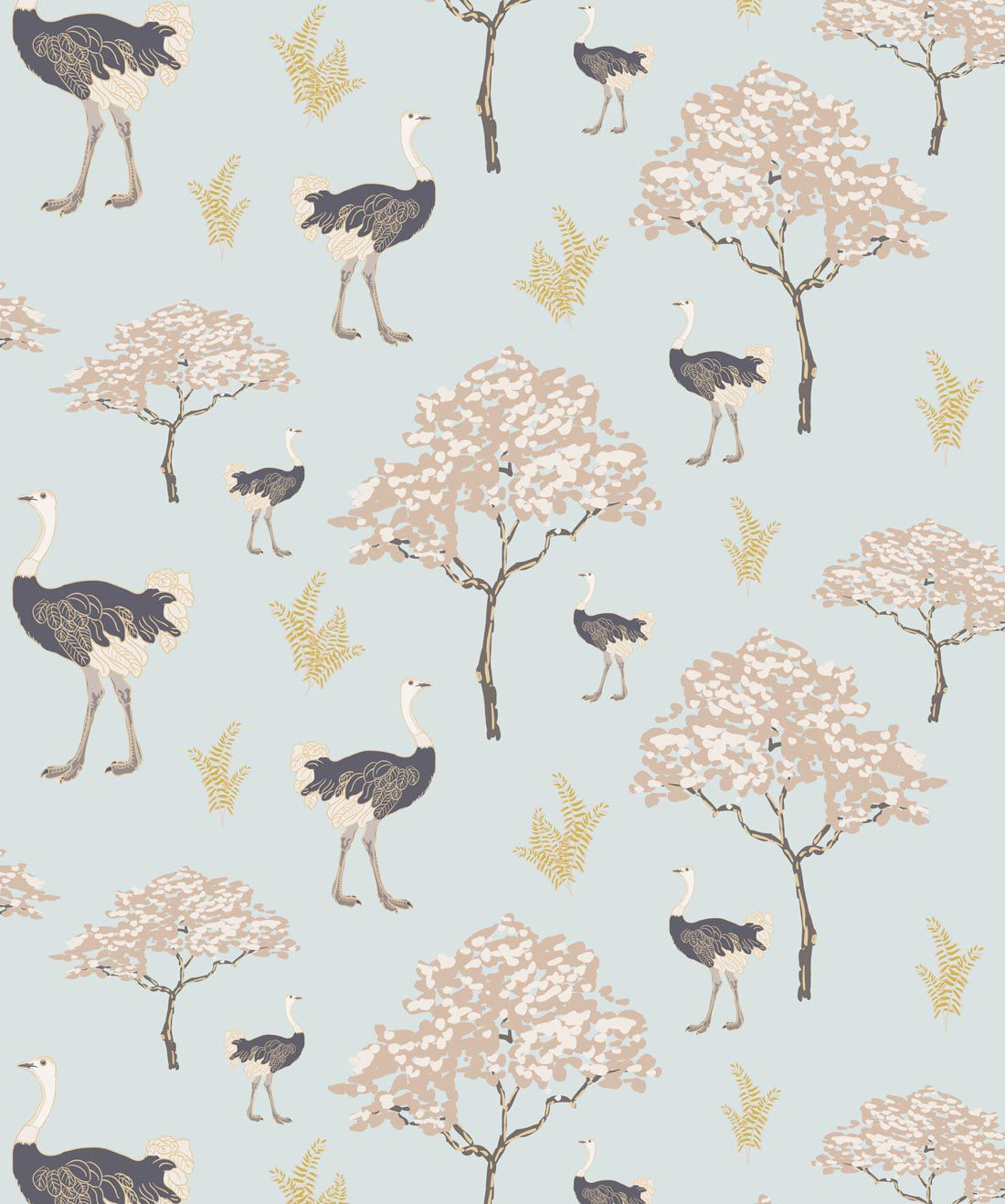 Savannah Ostrich Wallpaper
