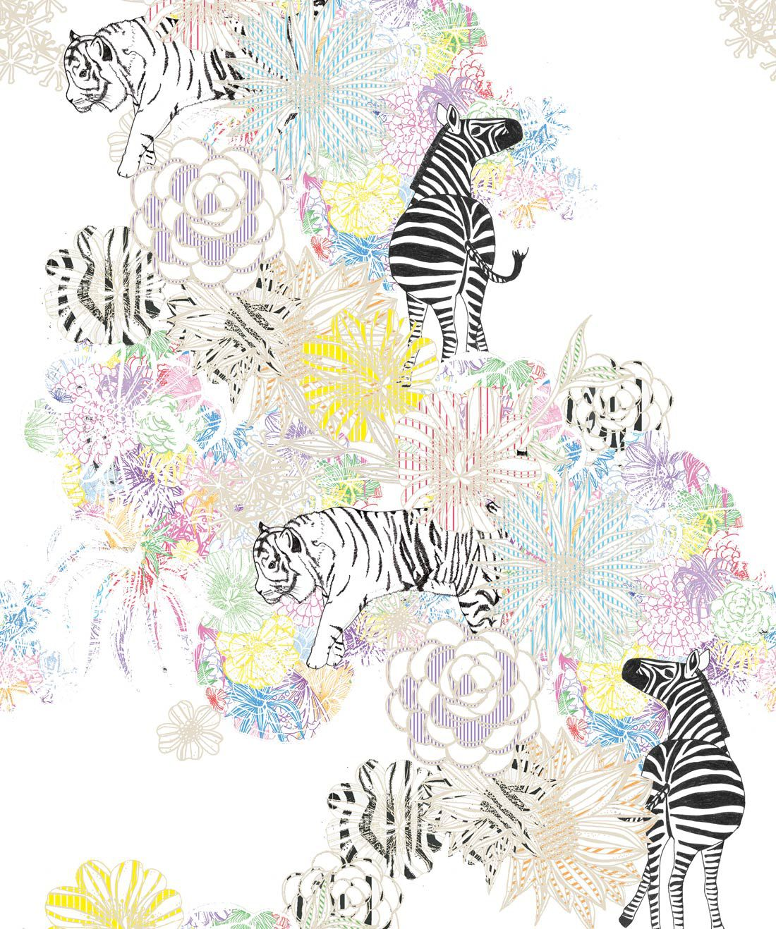 Tigers & Zebras Wallpaper