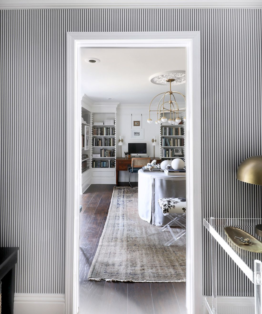 Candy Stripe Wallpaper • Striped Wallpaper • Black & White Stripe Wallpaper • Kristin Jackson • @huntedinterior