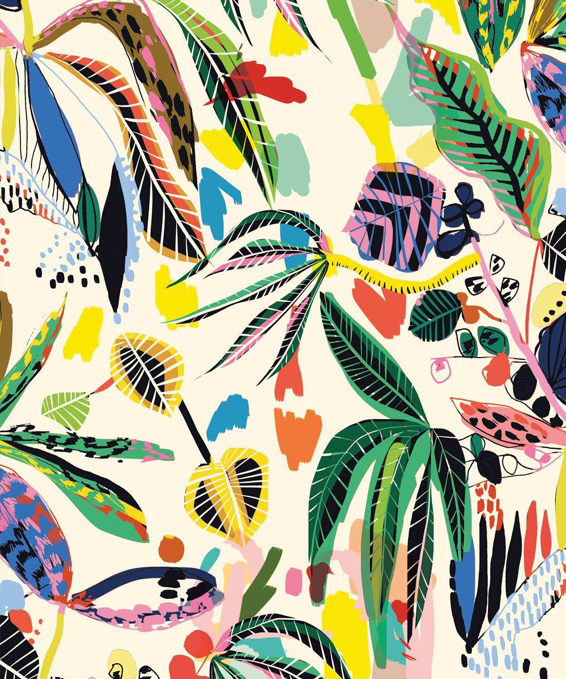 Wilderness wallpaper, colourful tropical wallpaper by kitty mccall, Milton & King, Australia