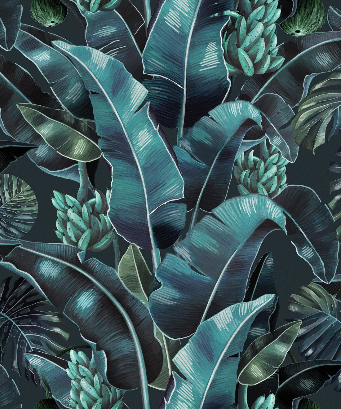 Kingdom Palm Noche • Tropical Leaf Wallpaper • Milton & King