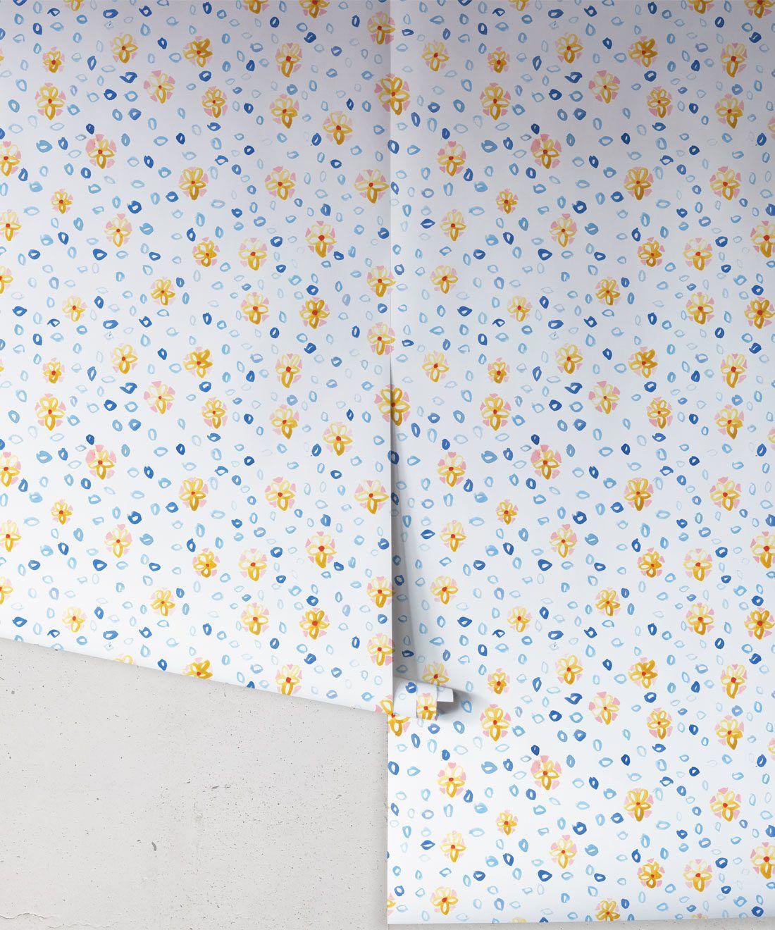 Al Hadiqa Wallpaper • Dainty Floral Design • Inky Flowery Pattern • Milton & King Australia • Wallpaper Rolls • Free Shipping
