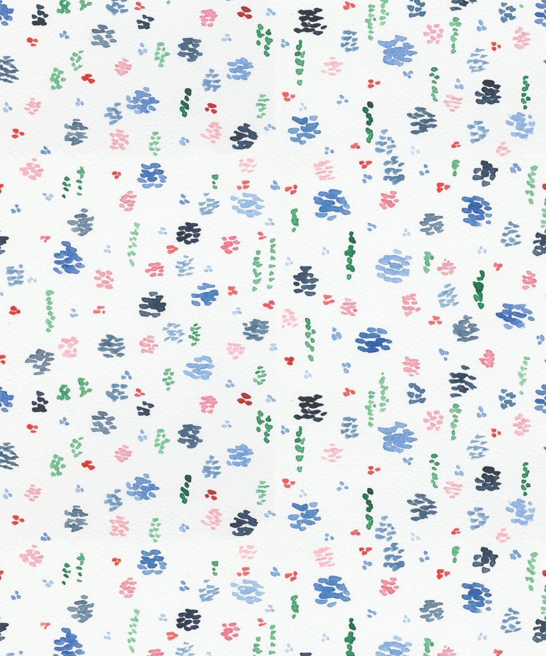 Spring Garden • Blue Floral Wallpaper