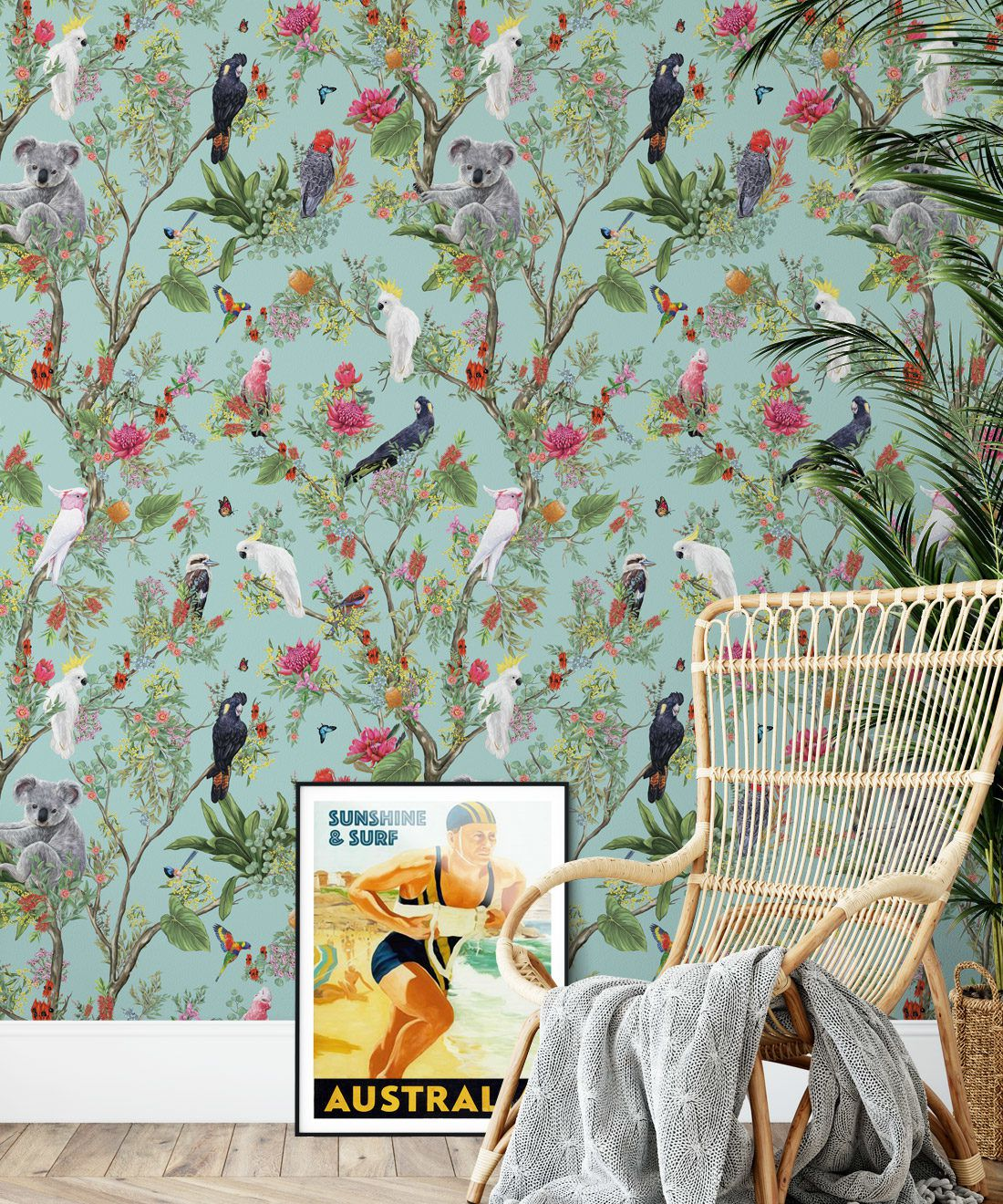 Australia Wallpaper • Cockatoos, Koalas, Parrots, Finches • Milton & King USA • Mint Green Wallpaper Insitu