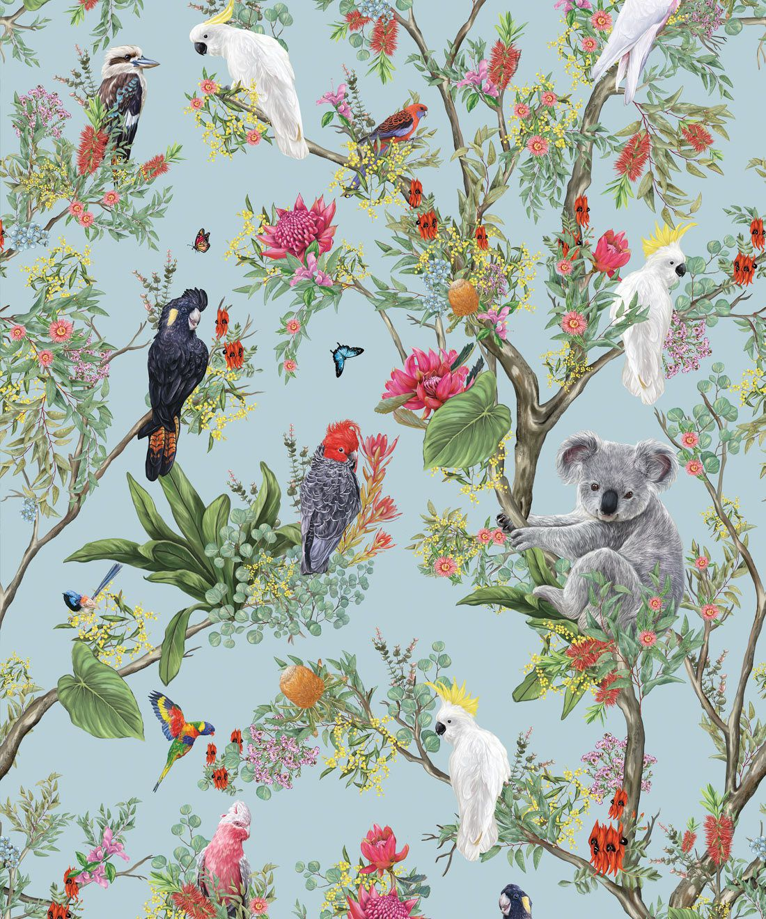 Australia Wallpaper • Cockatoos, Koalas, Parrots, Finches • Milton & King USA • Aqua Wallpaper Swatch