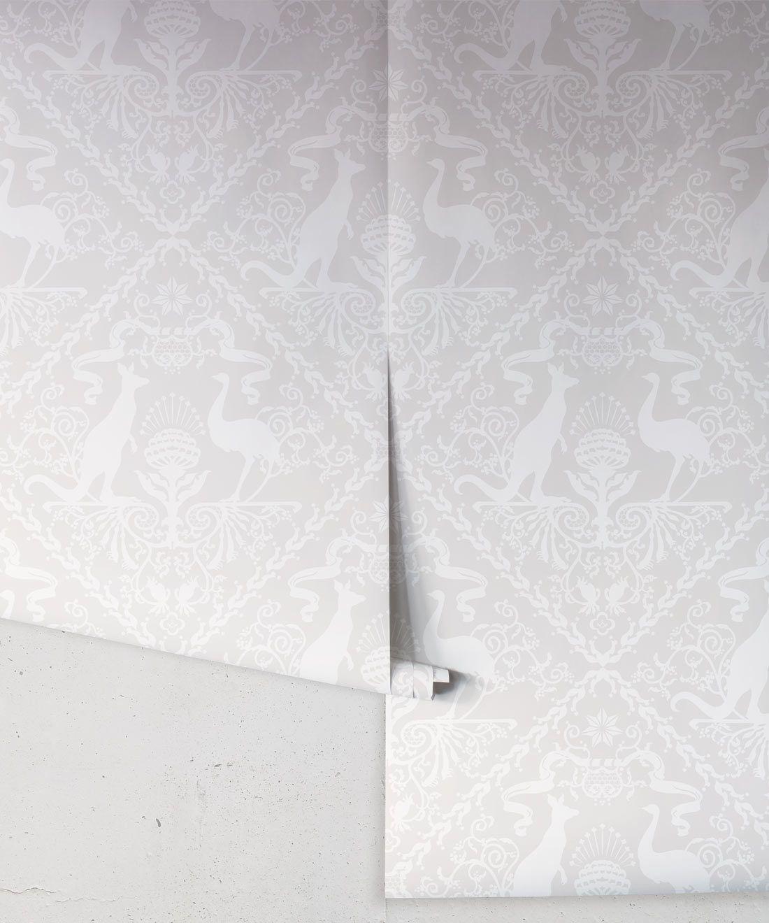 In Australia We Trust Bondi • Australian Wallpaper •Australian Coat of Arms • Milton & King USA •Grey Wallpaper Rolls