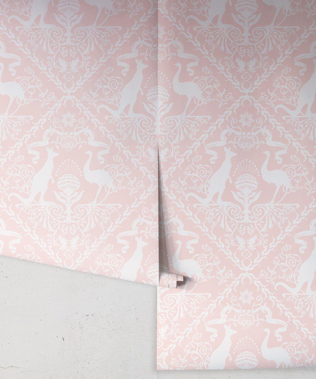 In Australia We Trust Coral • Australian Wallpaper •Australian Coat of Arms • Milton & King USA •Pink Wallpaper Rolls