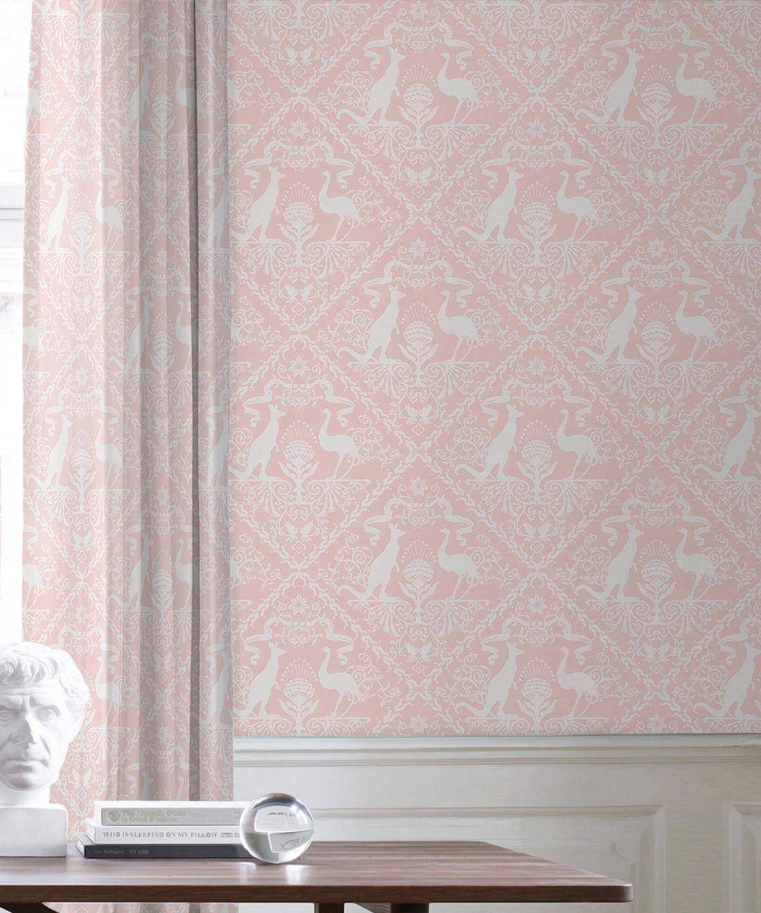 In Australia We Trust Coral • Australian Wallpaper •Australian Coat of Arms • Milton & King USA •Pink Wallpaper