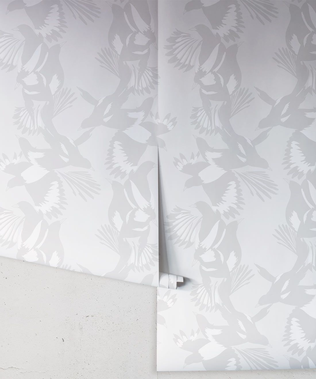 Magpie Wallpaper • Milton & King • Kingdom Home • Bird Wallpaper • Bondi Grey Roll