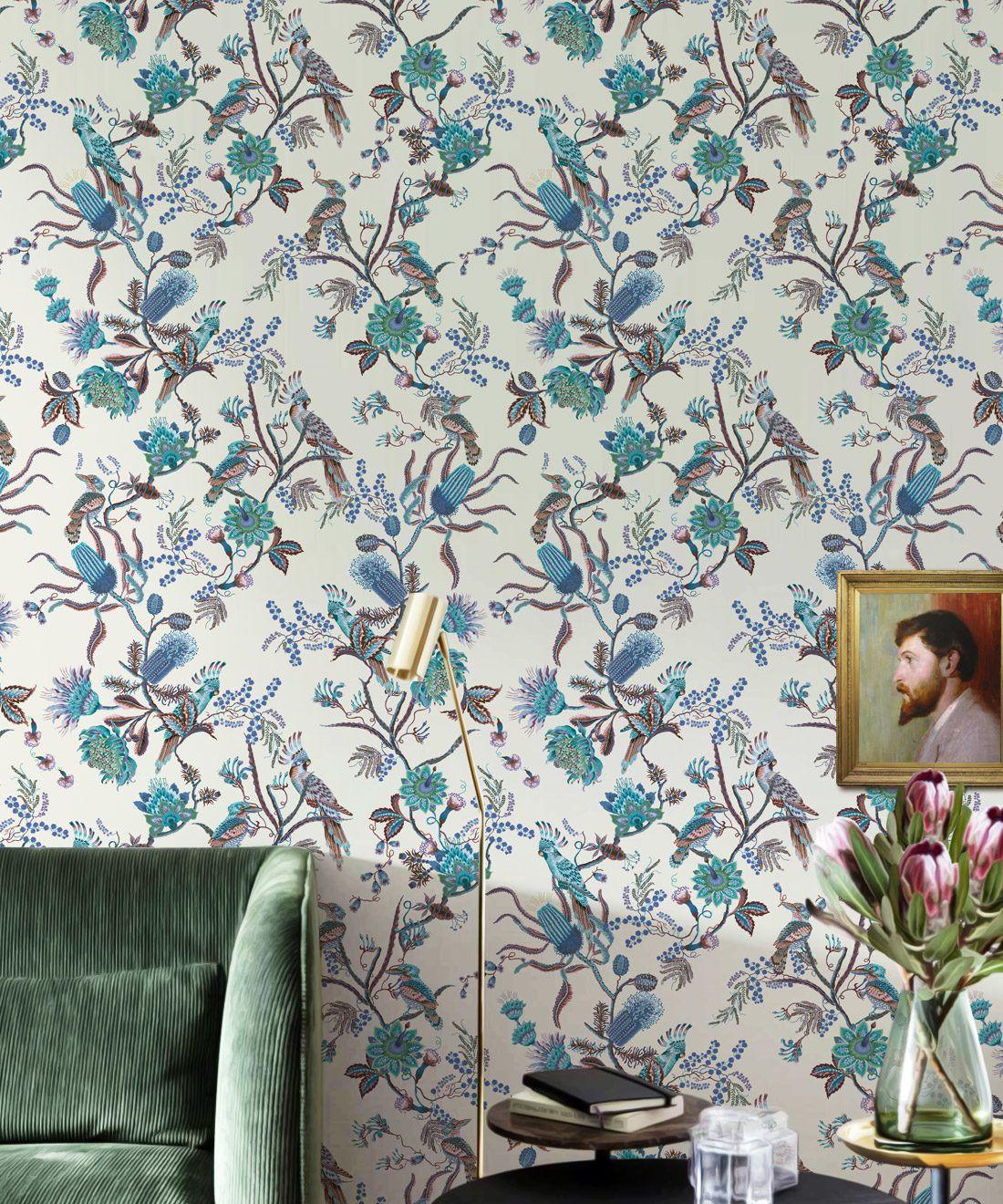 Matilda Wallpaper • Cockatoo, kookaburra • Australian Wallpaper • Milton & King USA • Blue Bell Insitu