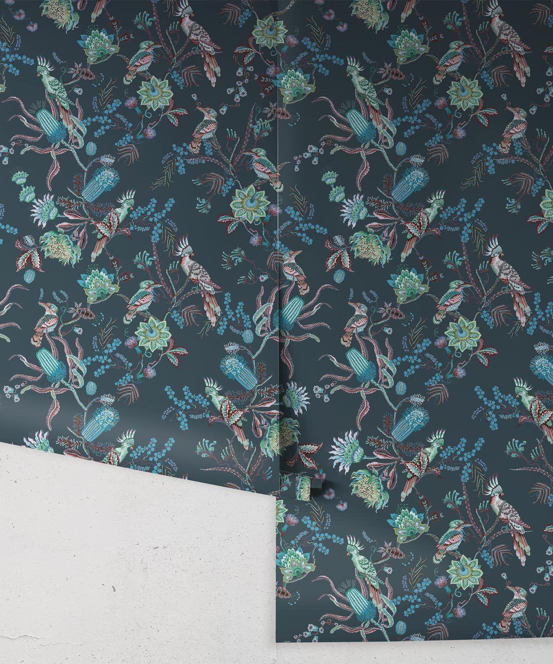 Matilda Wallpaper • Cockatoo, kookaburra • Australian Wallpaper • Milton & King USA • Deep Blue Roll