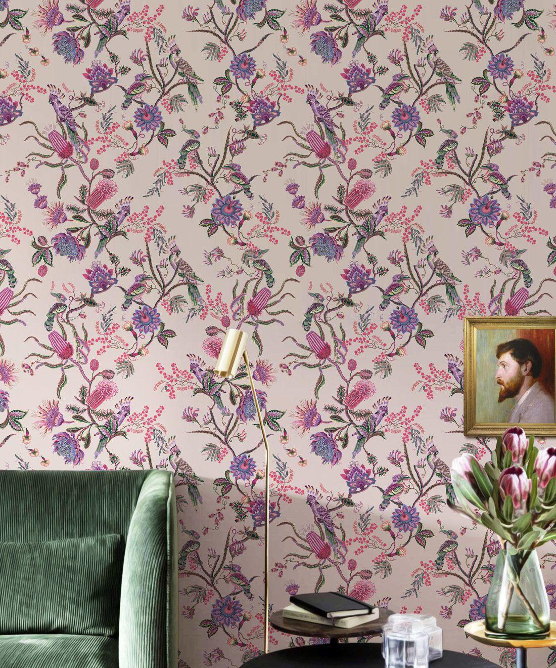 Matilda Wallpaper • Cockatoo, kookaburra • Australian Wallpaper • Milton & King USA • Pinky Insitu