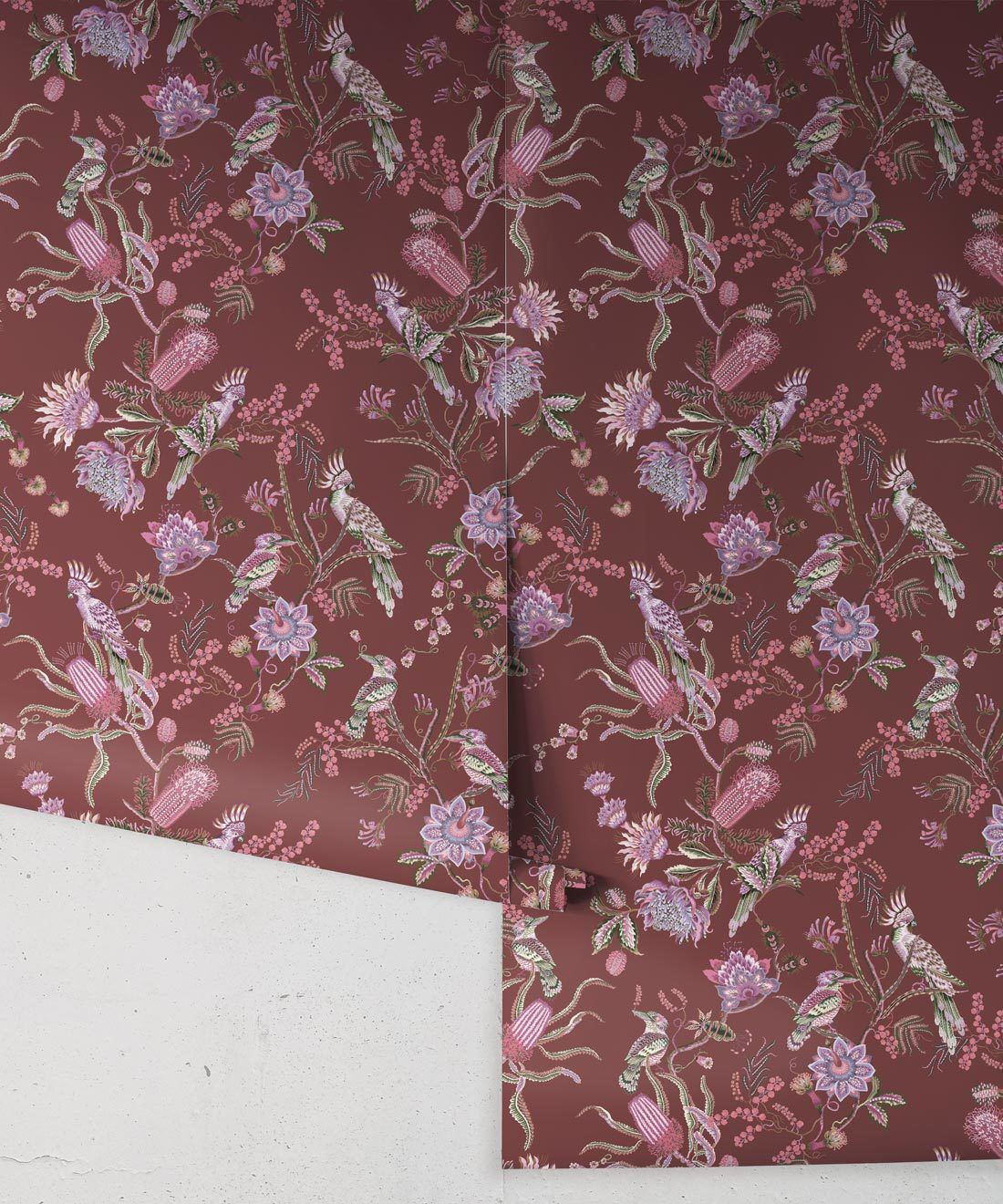 Matilda Wallpaper • Cockatoo, kookaburra • Australian Wallpaper • Milton & King USA • Plum Roll