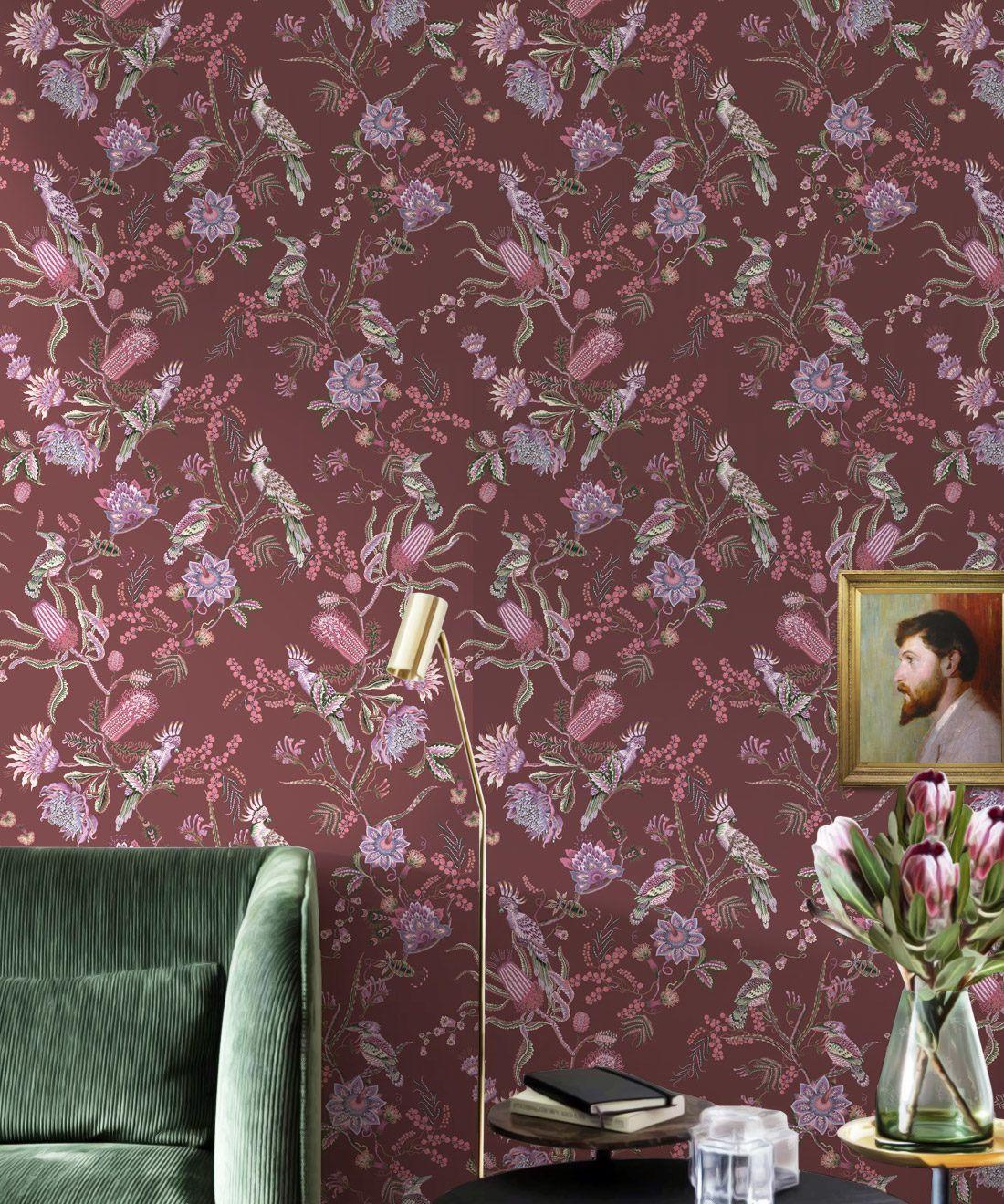 Matilda Wallpaper • Cockatoo, kookaburra • Australian Wallpaper • Milton & King USA • Plum Insitu