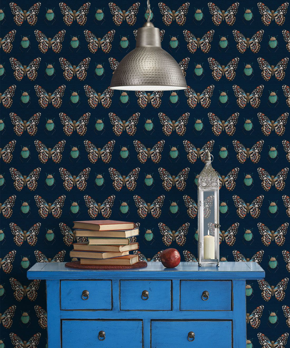 Bug & Butterfly Wallpaper • Milton & King USA • Insitu • Beetle Wallpaper