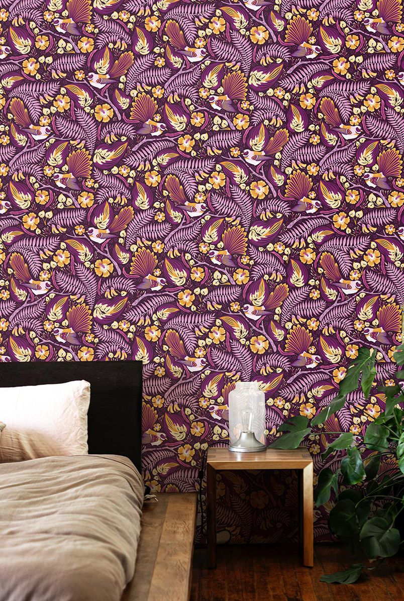 Fantails Wallpaper • Purple Wallpaper • Bedroom Wallpaper
