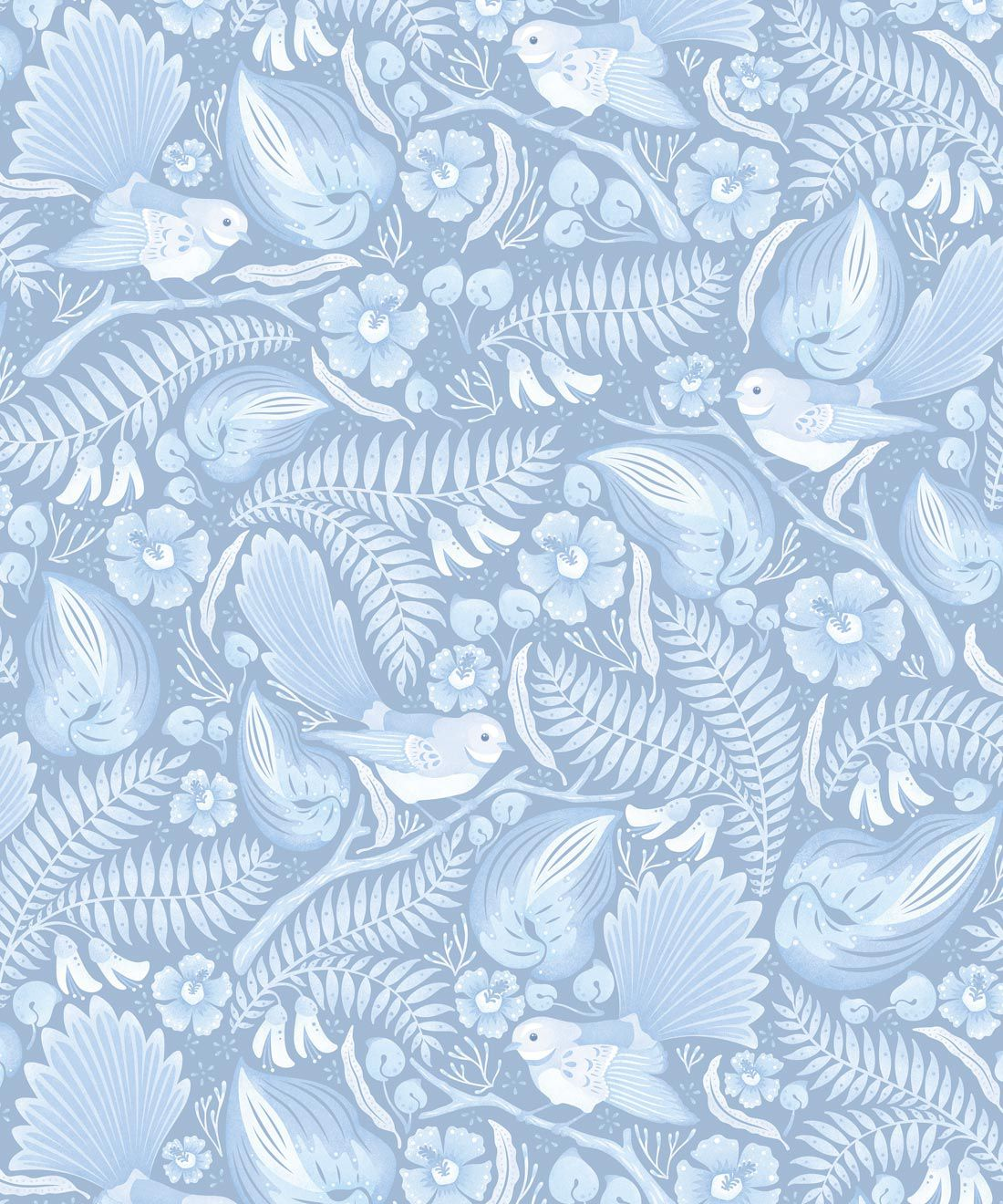 Faintails Wallpaper • New Zealand • Bird Wallpaper • Kowhai Tree • Kowhai Flowers • Light Blue Wallpaper • Ice Colorway