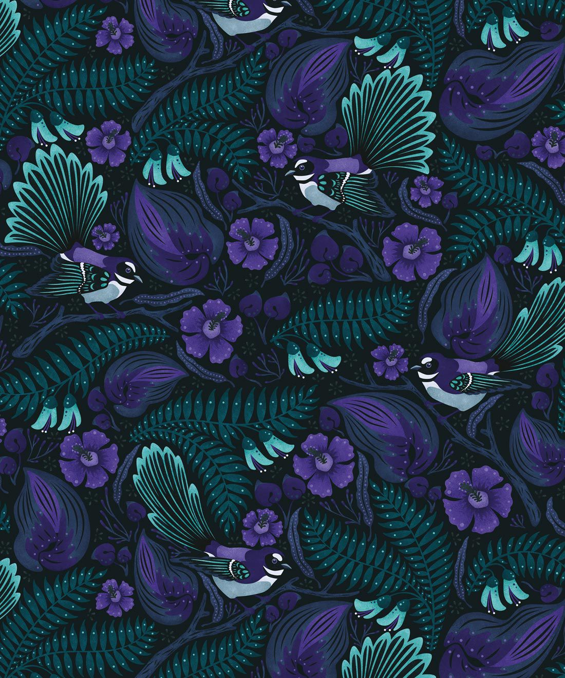 Faintails Wallpaper • New Zealand • Bird Wallpaper • Kowhai Tree • Kowhai Flowers • Dark Purple Blue Wallpaper • Midnight Colorway