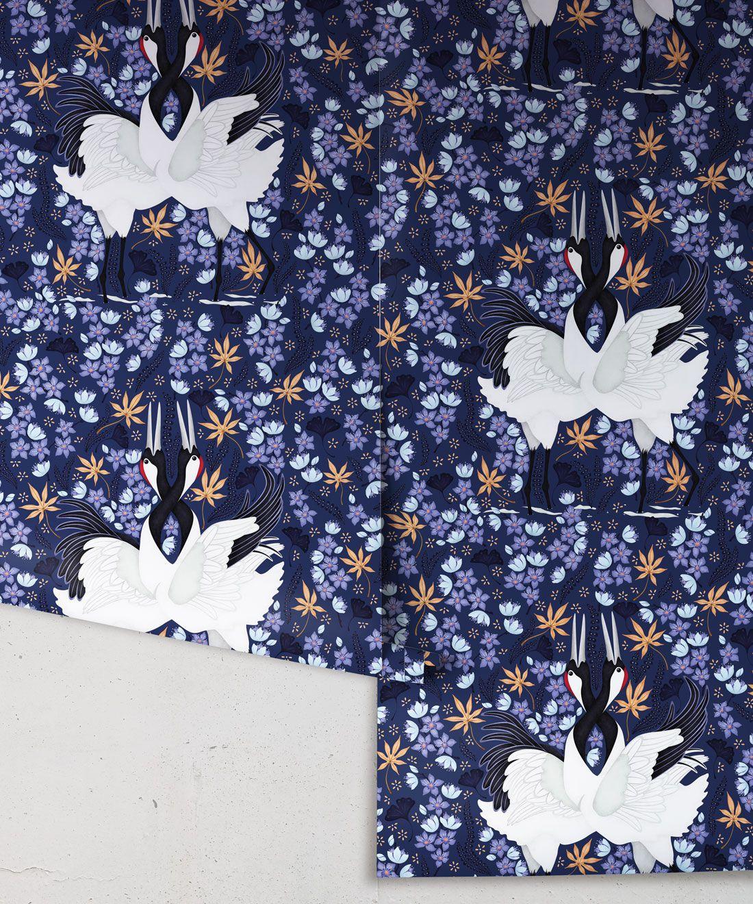 Japanese Cranes Wallpaper • Bird Wallpaper • Blue Wallpaper Drops