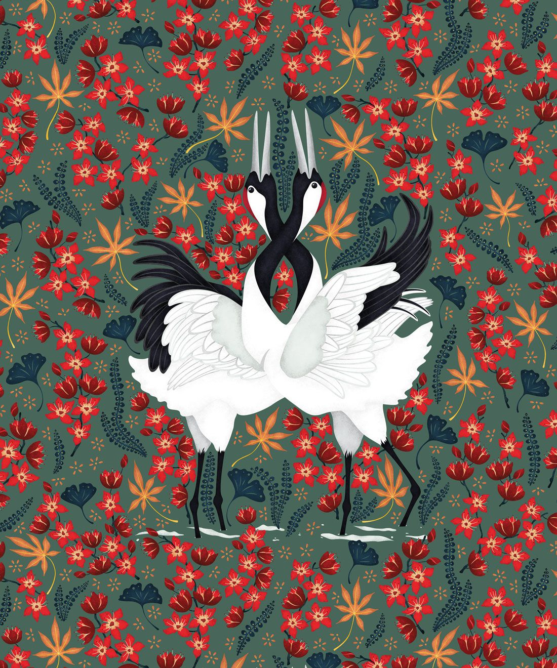 Japanese Cranes Wallpaper • Bird Wallpaper • Red and Green Wallpaper