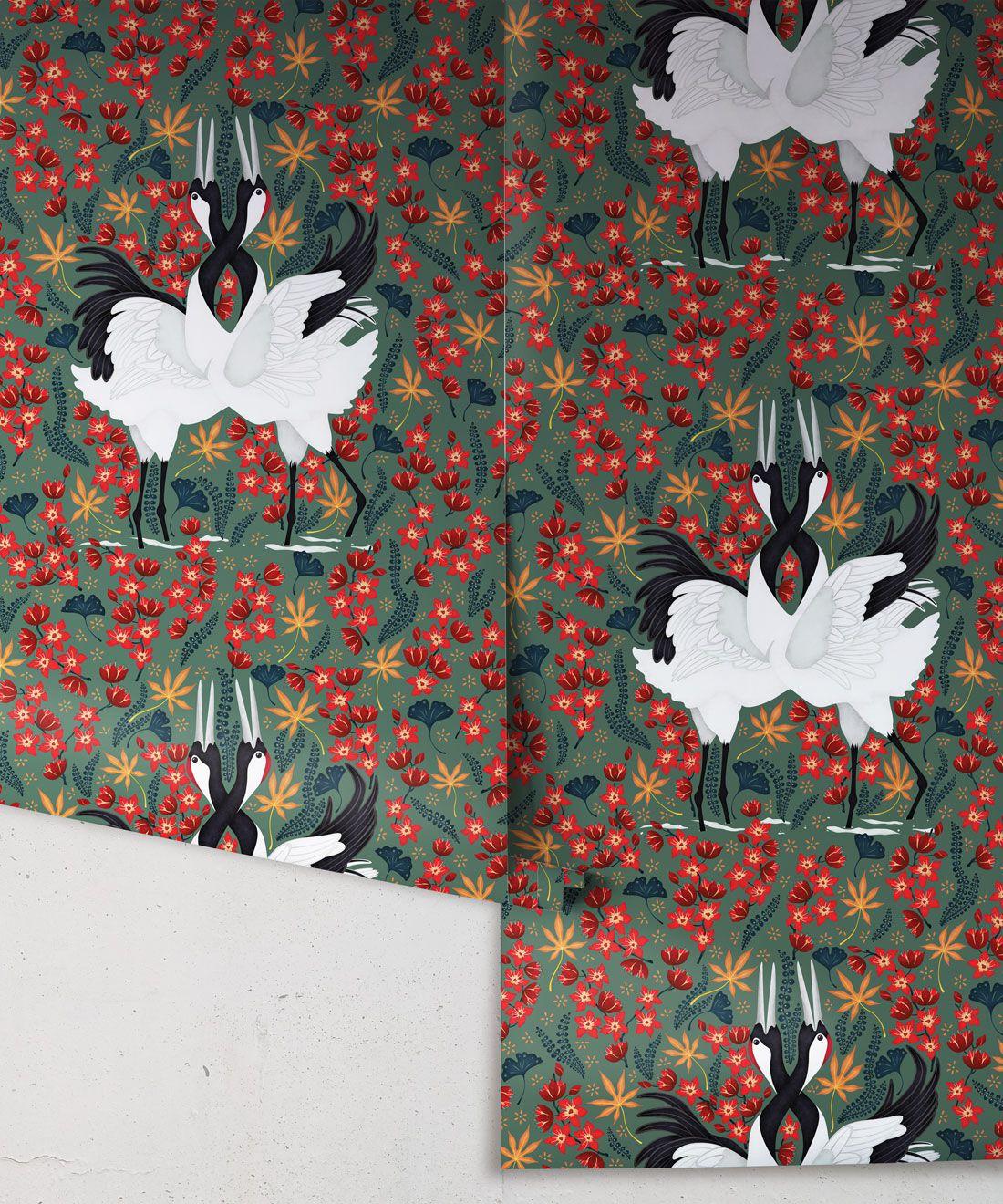 Japanese Cranes Wallpaper • Bird Wallpaper • Red and Green Wallpaper