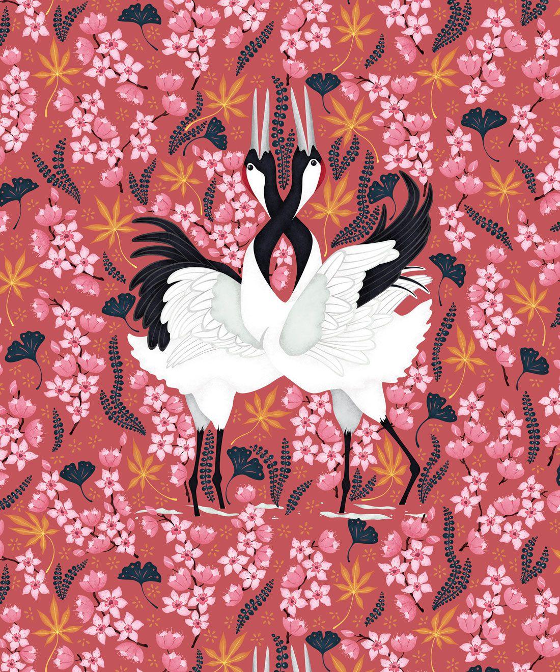 Japanese Cranes Wallpaper • Bird Wallpaper • Red Wallpaper