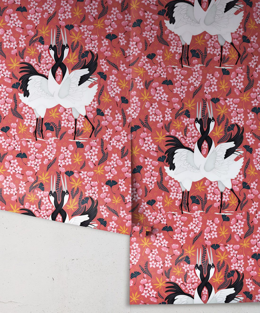 Japanese Cranes Wallpaper • Bird Wallpaper • Red Wallpaper Drops