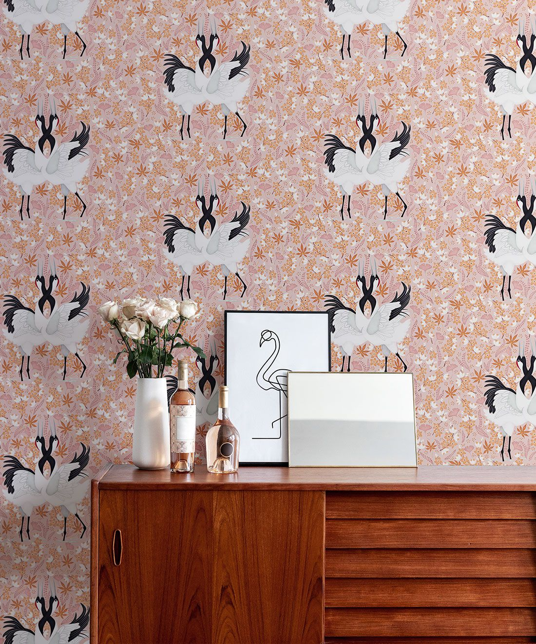 Japanese Cranes Wallpaper • Bird Wallpaper • Pink Wallpaper Insitu