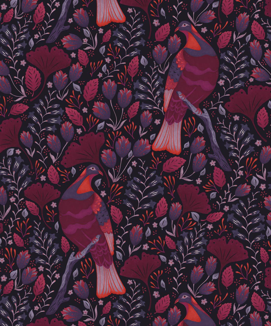Kereru Wallpaper • Wood Pigeon• Bird Wallpaper • Maroon Wallpaper