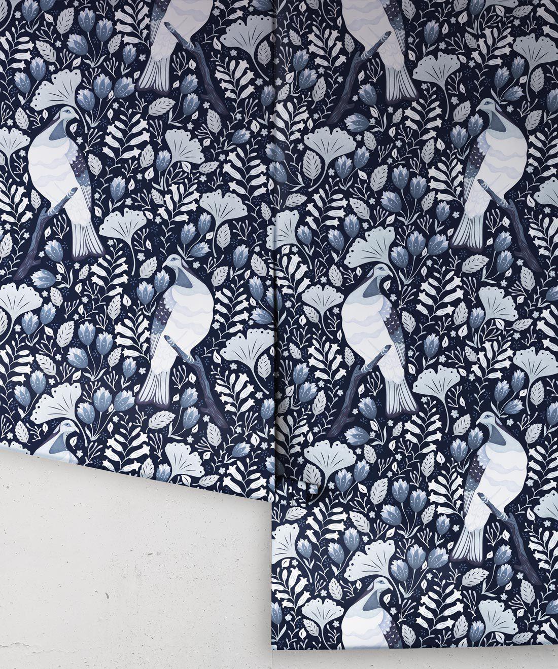 Kereru Wallpaper • Wood Pigeon• Bird Wallpaper • Ice Blue Wallpaper Drops