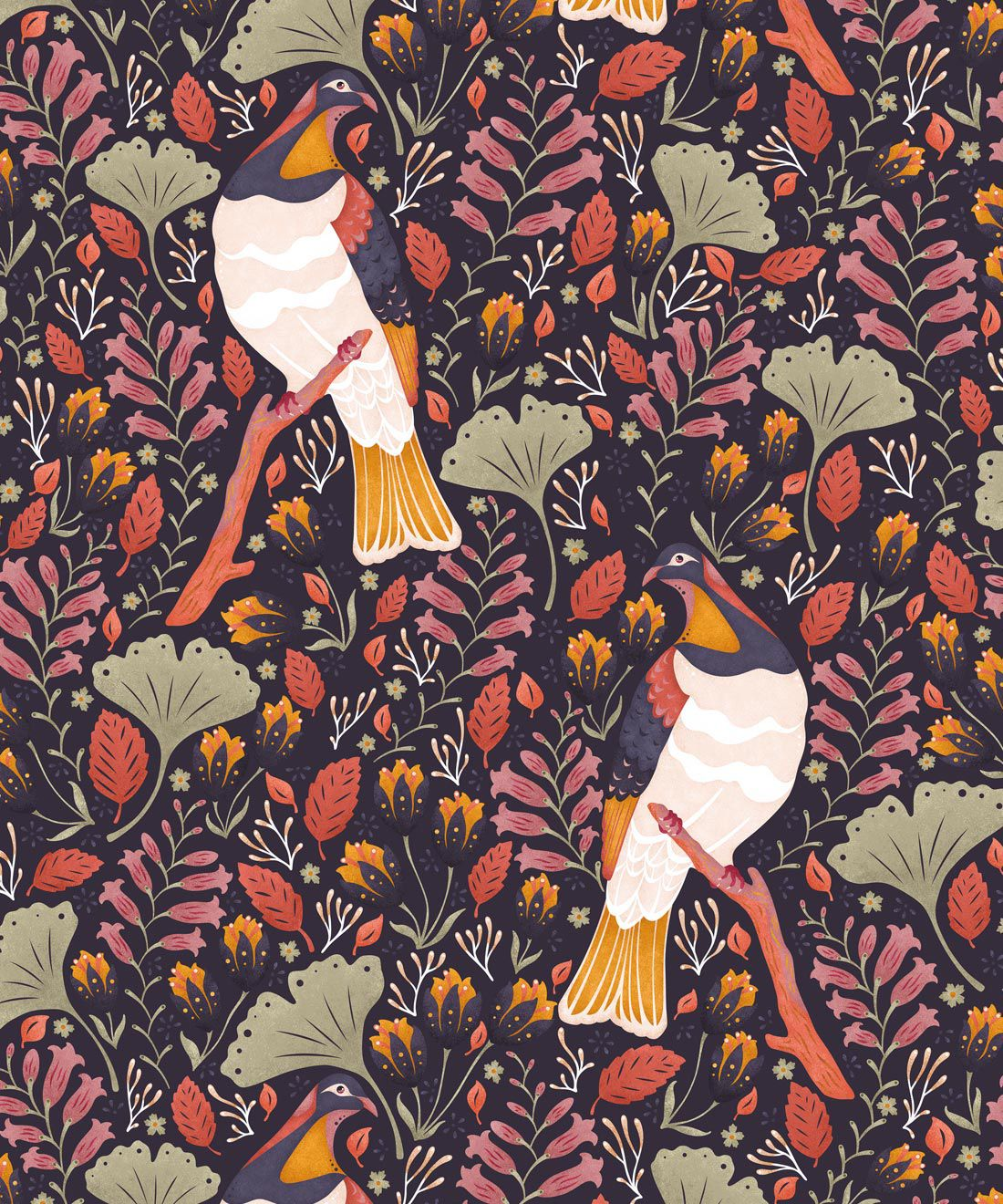 Kereru Wallpaper • Wood Pigeon• Bird Wallpaper • Orange Wallpaper • Midnight