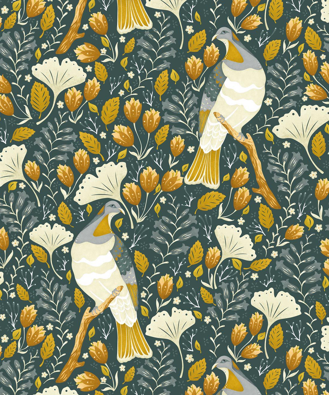 Kereru Wallpaper • Wood Pigeon• Bird Wallpaper • Mustard Green Wallpaper