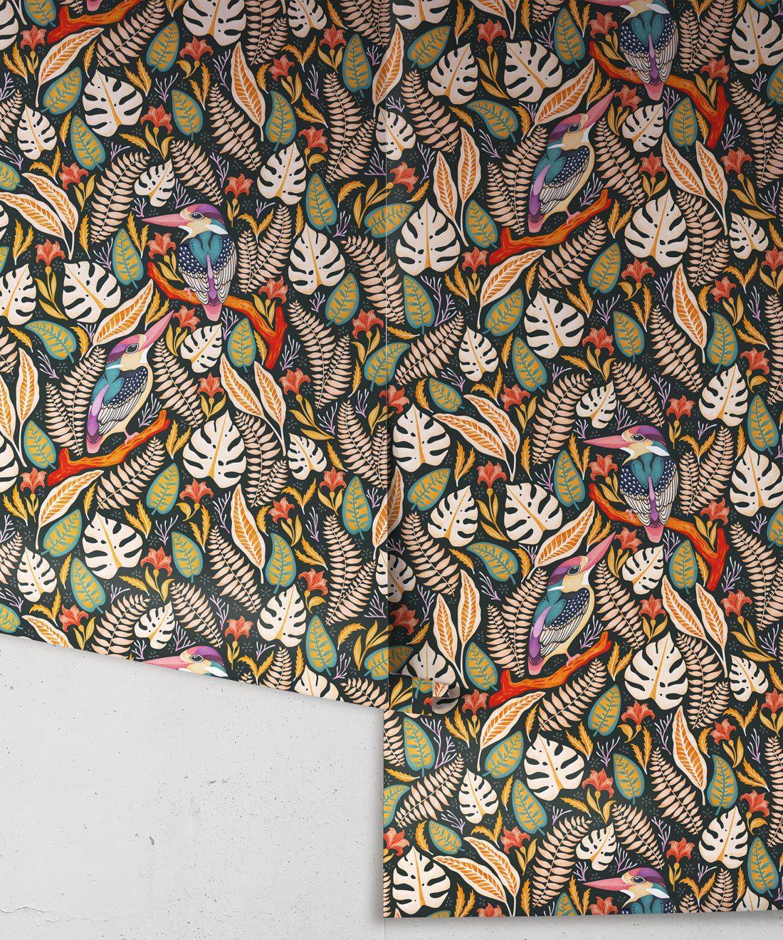 Kingfisher Wallpaper • Bird Wallpaper • Autumn Color Wallpaper Rolls