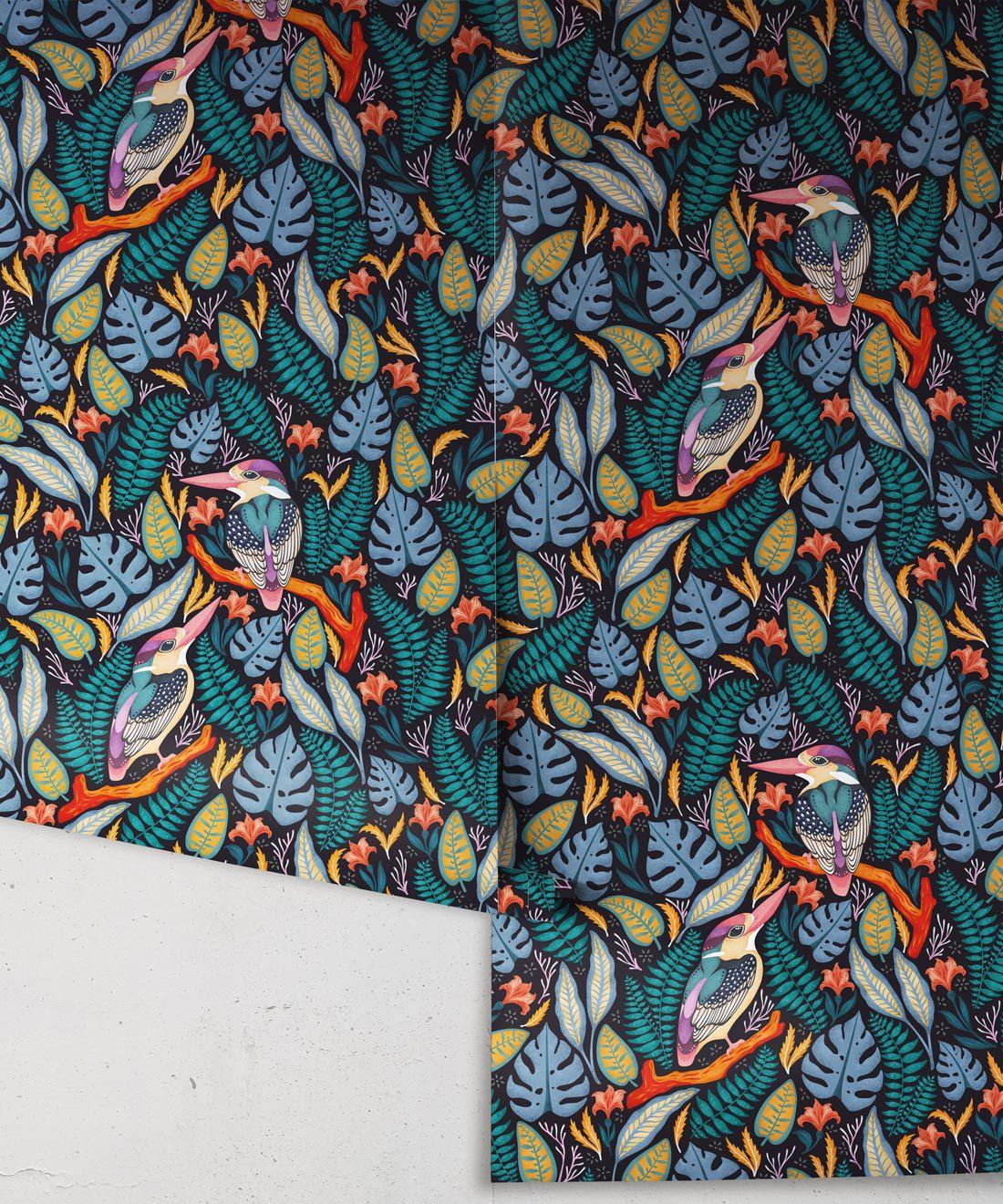 Kingfisher Wallpaper • Bird Wallpaper • Assorted Color Wallpaper Rolls