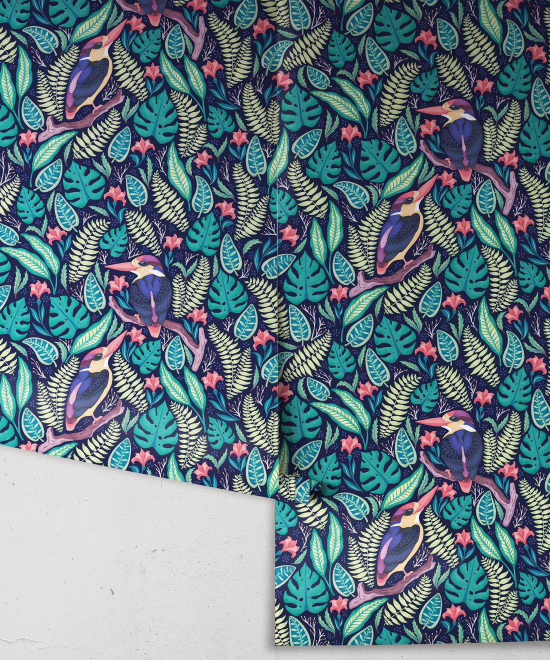 Kingfisher Wallpaper • Bird Wallpaper • Bright Neon Wallpaper Rolls