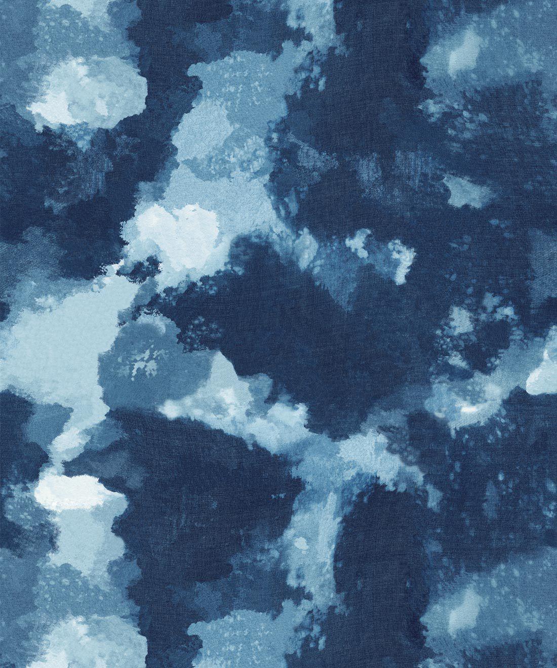 Autumn Path Wallpaper Indigo Blue • Shibori Abstract