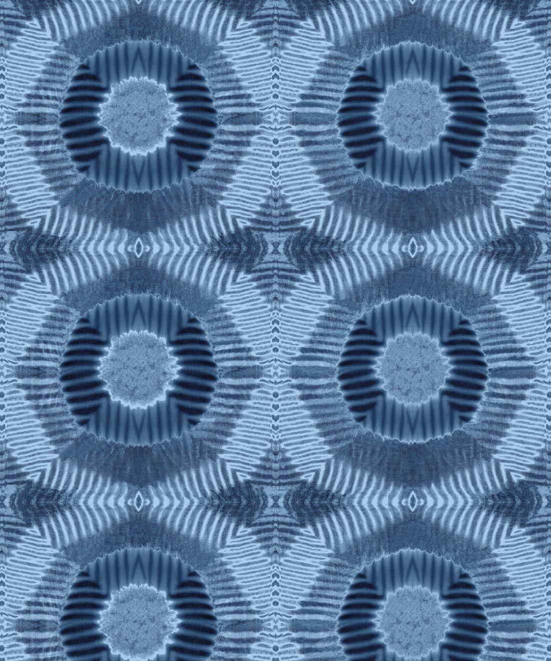 Aztec Suns Wallpaper Indigo Blue • Shibori Geometric • Swatch