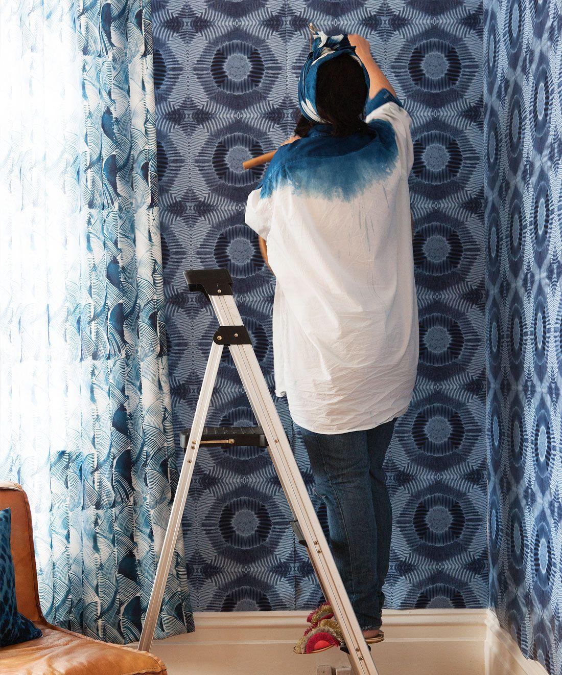 Aztec Suns Wallpaper Indigo Blue • Shibori Geometric • Wallpaper Installation