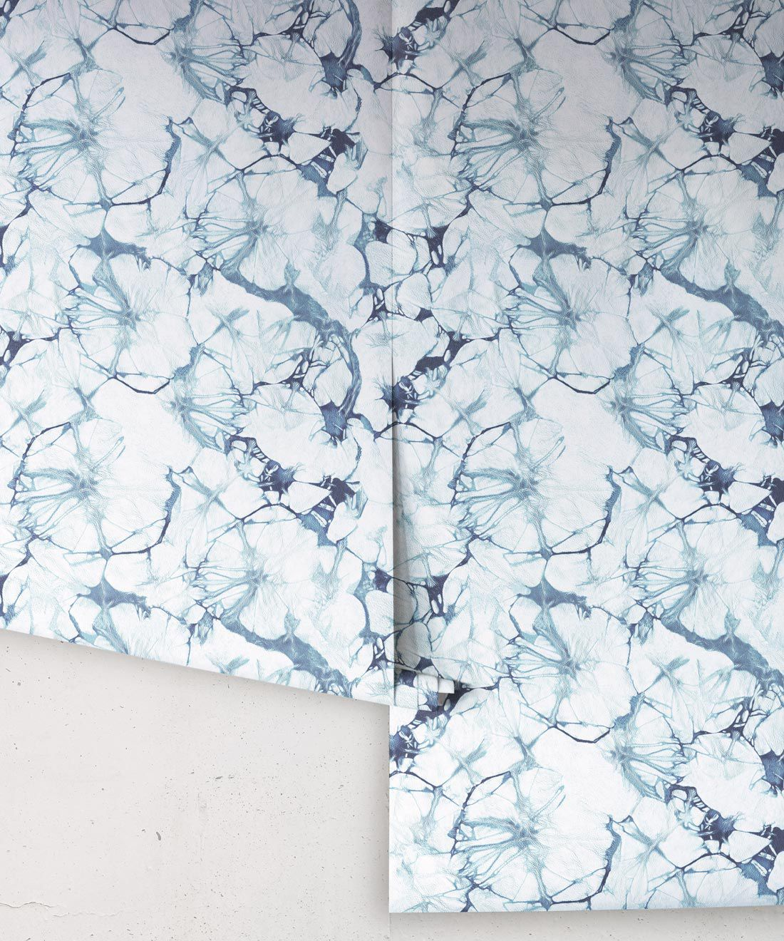 Indigo Blue Poppy Wallpaper • Shibori