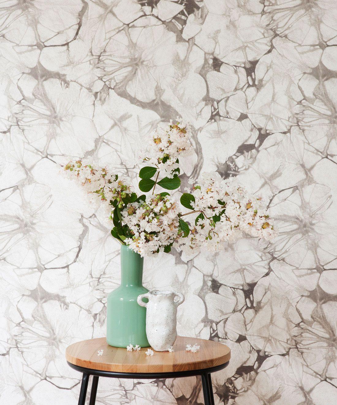 Silver Poppy Wallpaper • Shibori