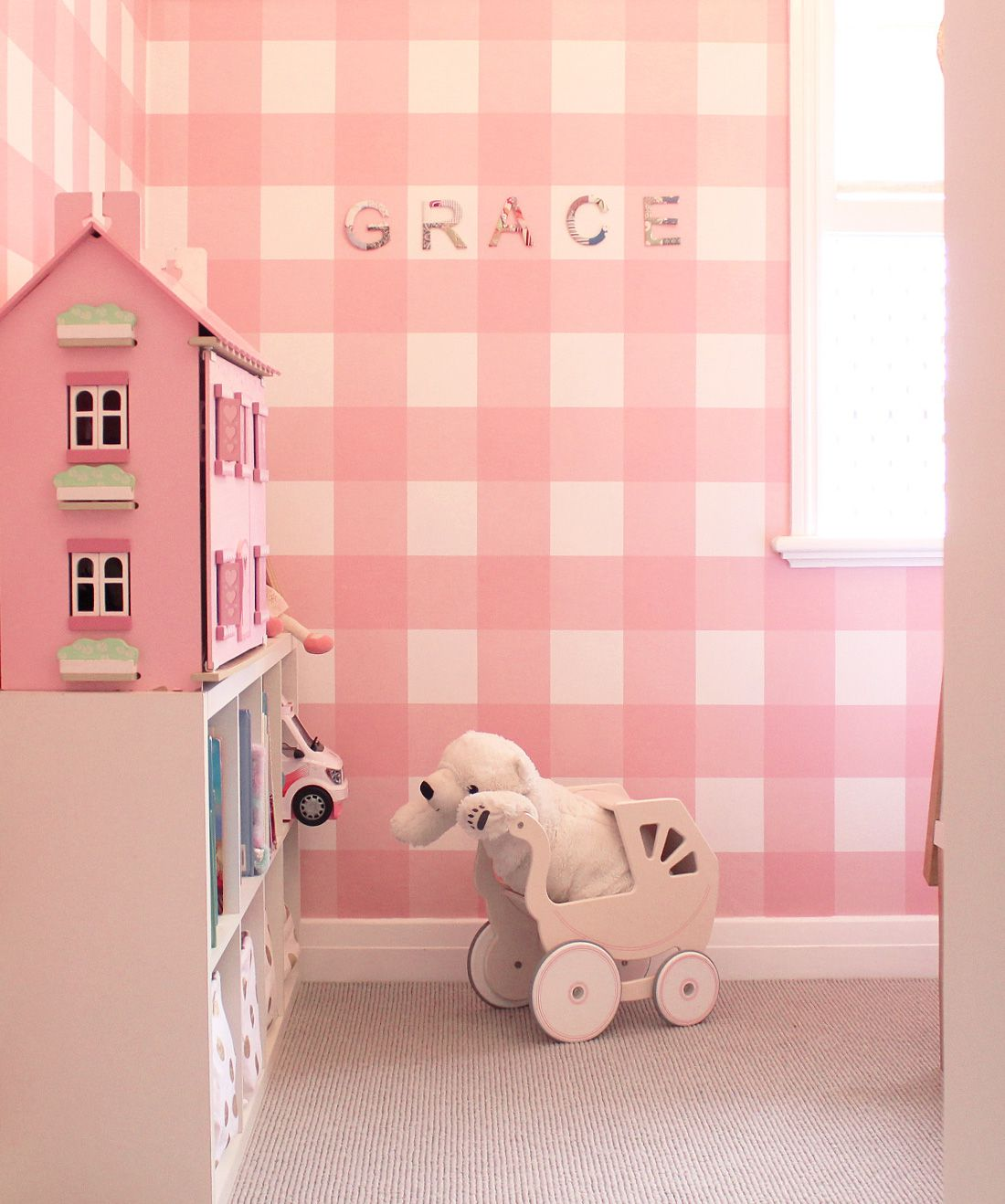 Buffalo Check Wallpaper • Girls Bedroom • Pink Plaid Wallpaper