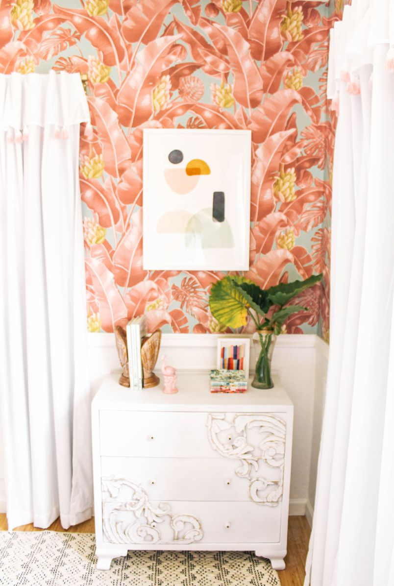 Tropical Wallpaper • Kingdom Palm (Rosada) • At Home With Ashley Wilson • Bedroom Makeover