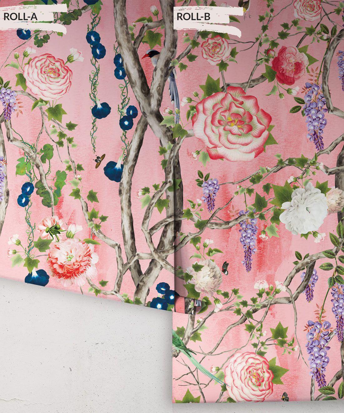 Empress Wallpaper • Romantic Wallpaper • Floral Wallpaper • Chinoiserie Wallpaper • Coral colour wallpaper rolls