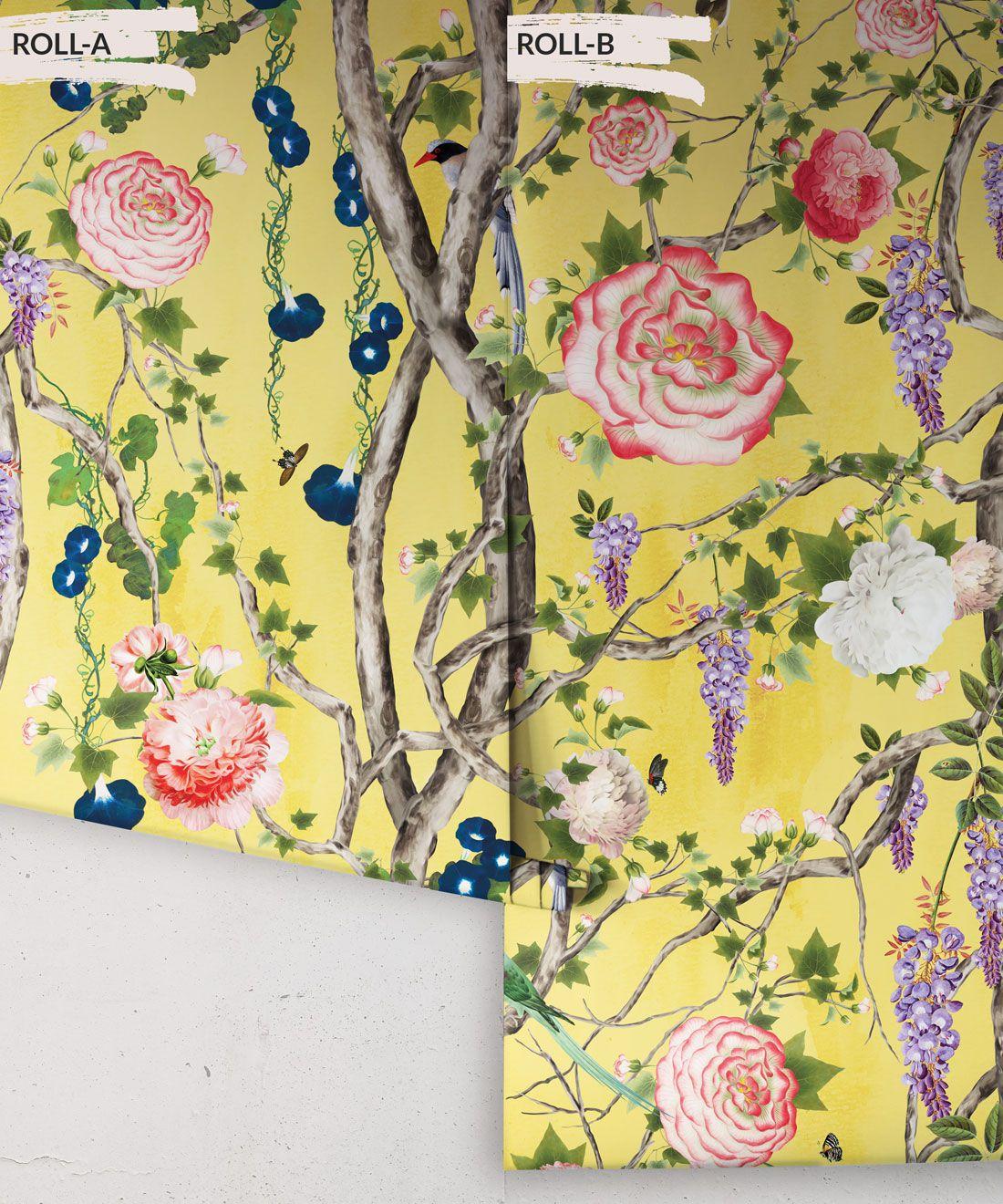 Empress Wallpaper • Romantic Wallpaper • Floral Wallpaper • Chinoiserie Wallpaper • Honey Yellow colour wallpaper rolls