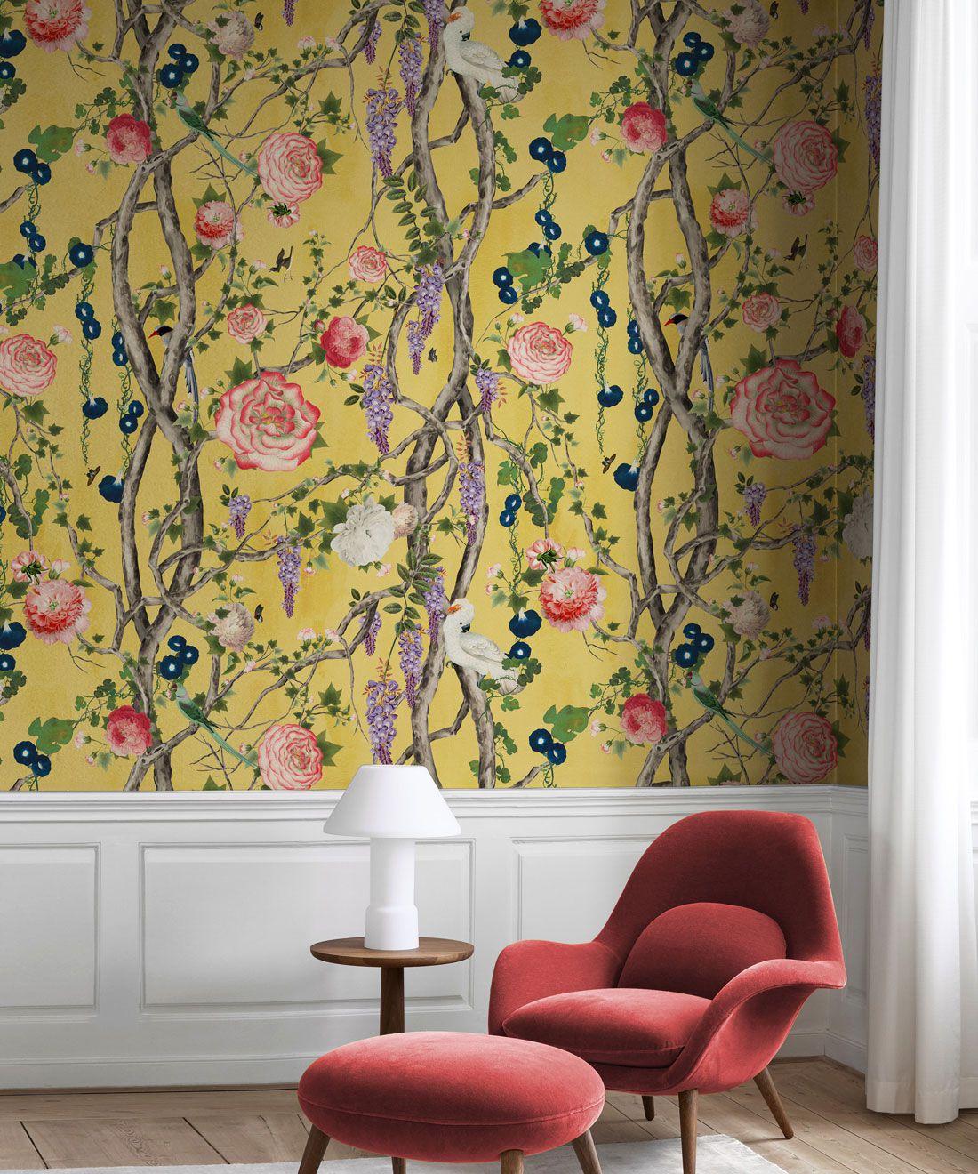 Empress Wallpaper • Romantic Wallpaper • Floral Wallpaper • Chinoiserie Wallpaper • Honey Yellow colour wallpaper insitu